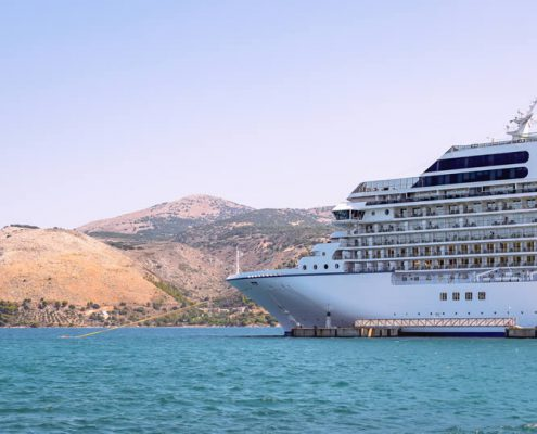 Cruise ship in Greece Mediterranean Sea