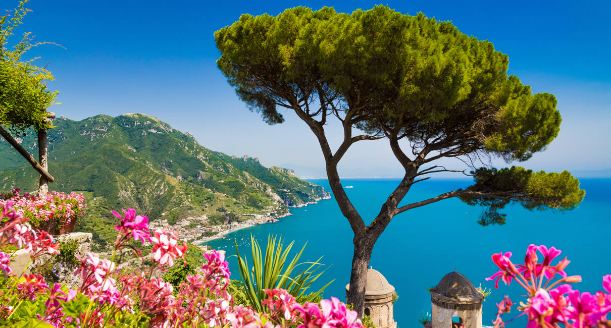 Amalfi coast view from Ravello in Italy