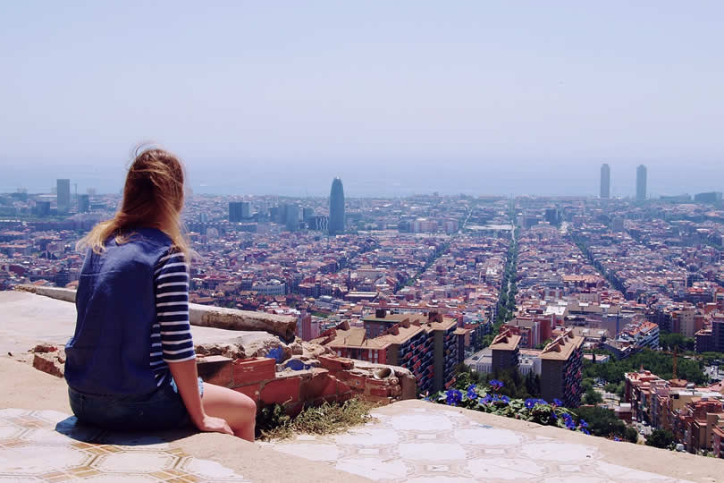 Hot July summer day in Barcelona
