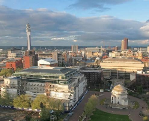Birmingham city centre aerial view