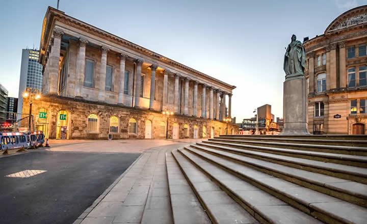 Birmingham Victoria Square Monuments in Evening