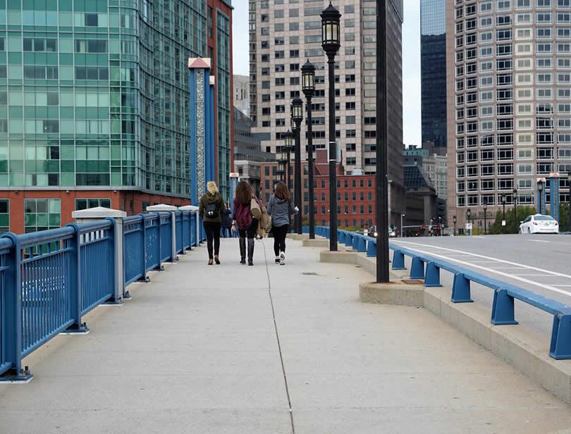 Boston bridge in downtown area