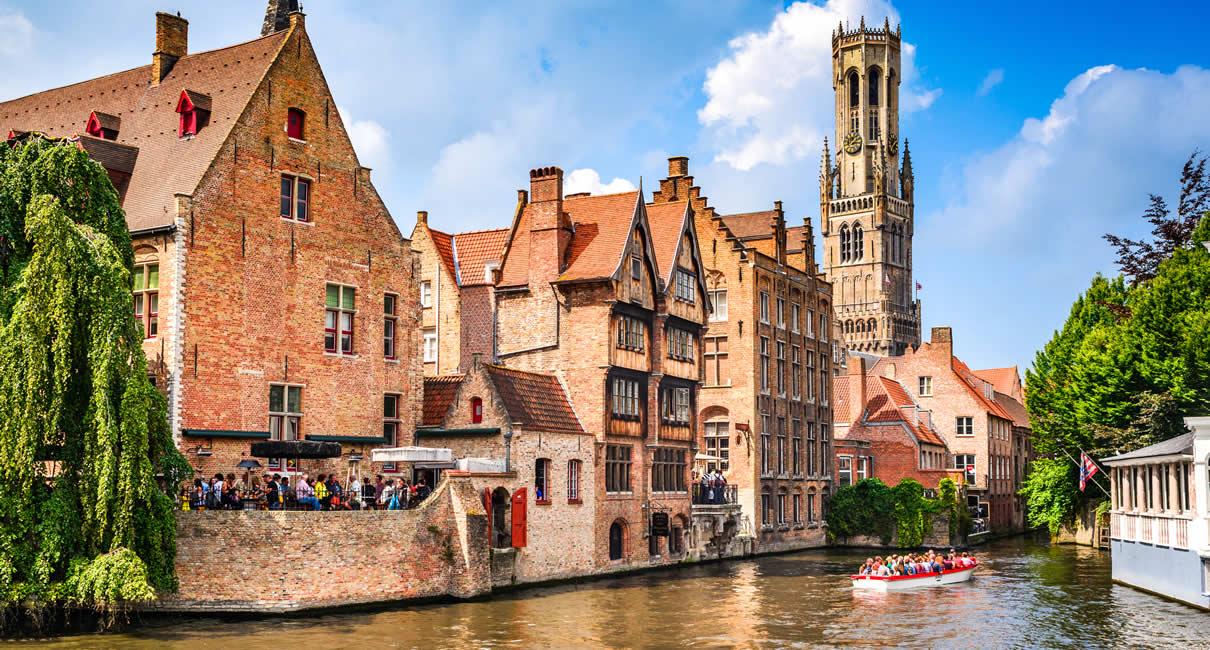 Bruges or Brugge Belgium Belfort and Canal