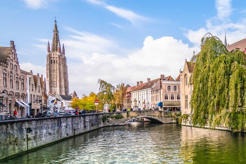 Bruges view of Nepomucenus Bridge and The Dijver