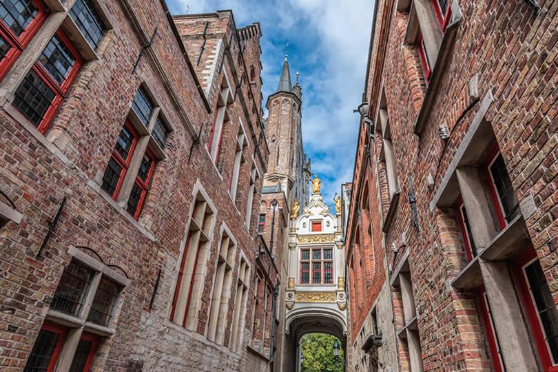 Callejón del Asno Ciego street in Old Bruges Belgium