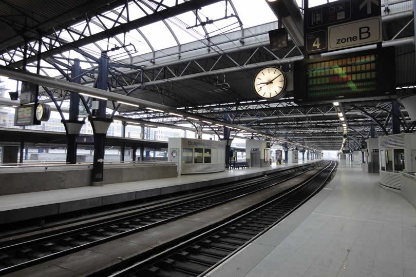 Train platform at Brussels Midi station
