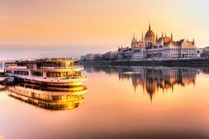 Danube river and parliament in Budapest Hungary