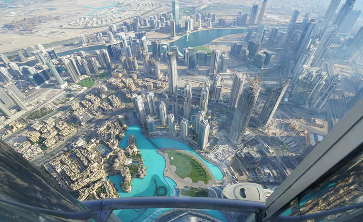 Dubai view from top Burj Khalifa tower