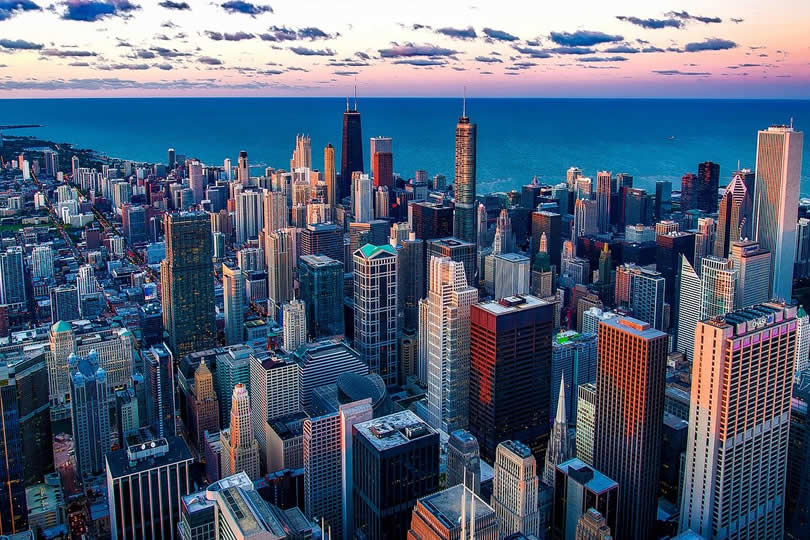 Downtown Chicago Aerial View