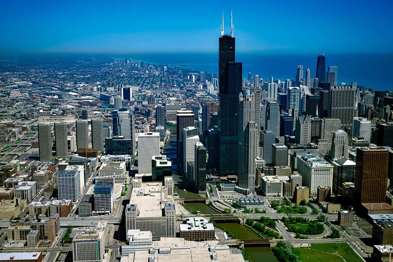 Downtown Chicago in Illinois USA