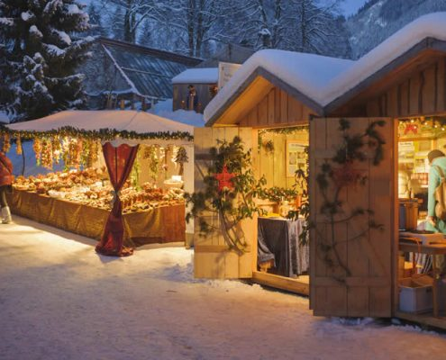 Christmas Market in Europe with snow