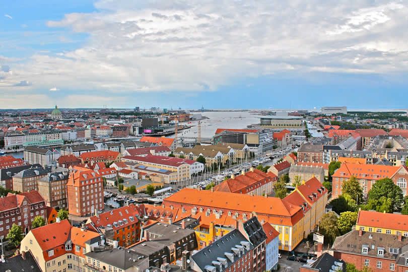 Copenhagen port and city centre view