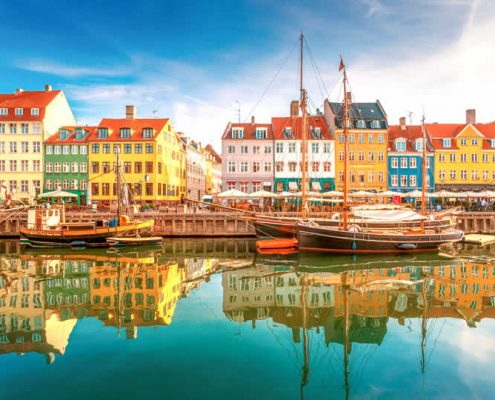 Boats in Nyhavn Copenhagen Denmark