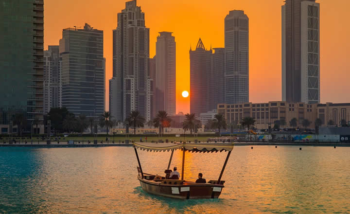 Dubai Creek sunset boat ride in dhow