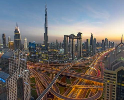 Dubai Downtown traffic and skyline