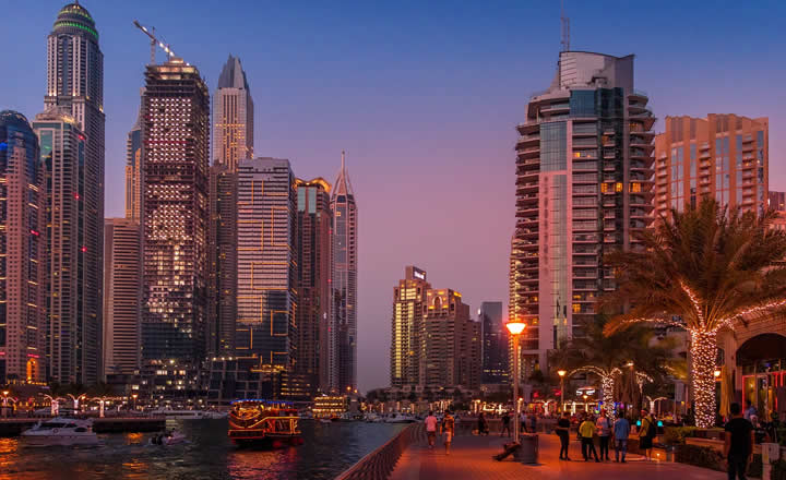 Dubai downtown waterfront in evening