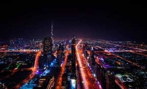 Dubai Downtown city lights