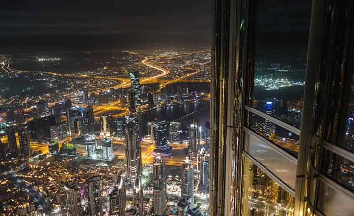 Dubai downtown view from Burj Khalifa