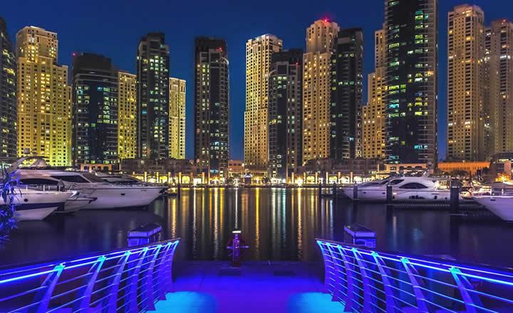 Dubai Marina blue lights
