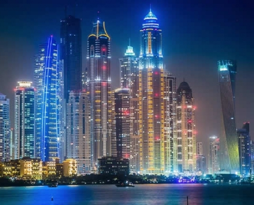 Dubai Marina night lights