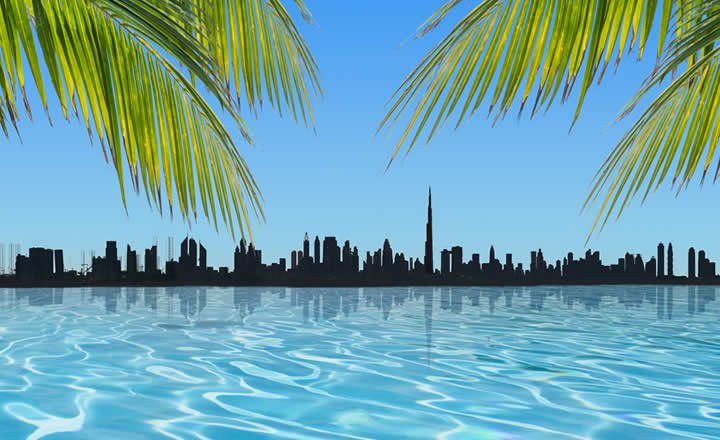 Dubai Palms and pool with view of Downtown