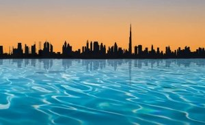 Dubai swimming pool and skyline in distance