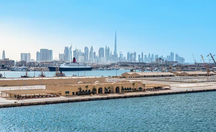 Dubai skyline and Queen Elisabeth 2