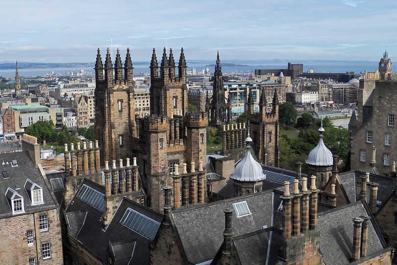 Edinburgh city centre view