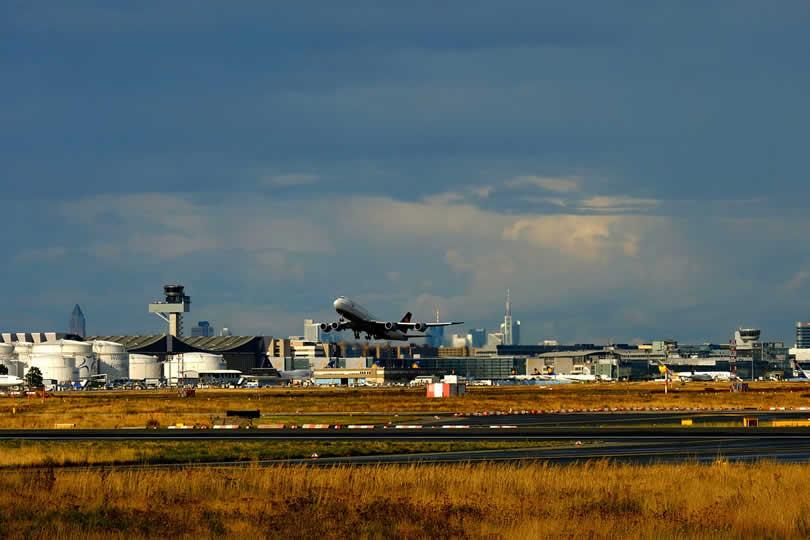 Plane departing from Frankfurt Airport