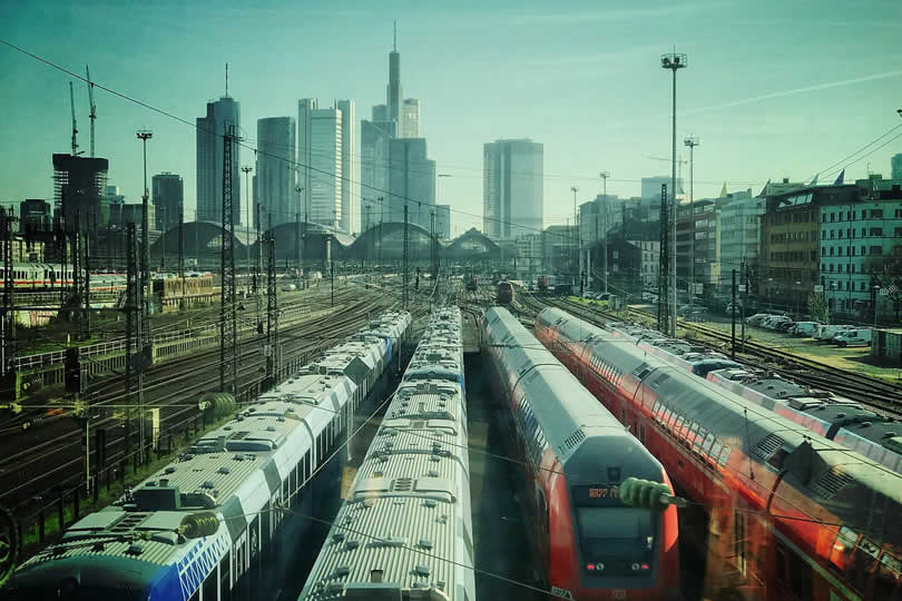 Trains at Frankfurt central station