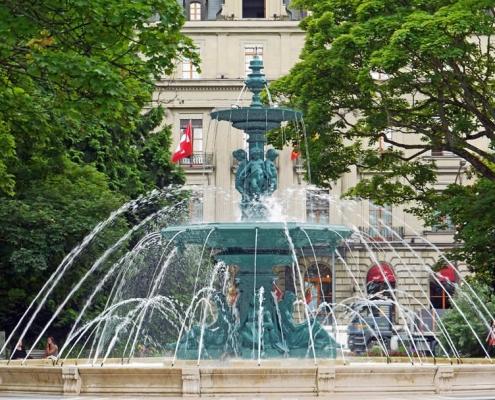 Geneva fountain in city centre