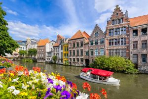 Boat on canal in Ghent Belgium