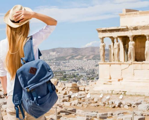 Acropolis in Athens Greece female tourist