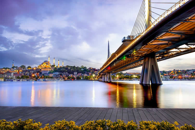 Istanbul bridge and blue mosque