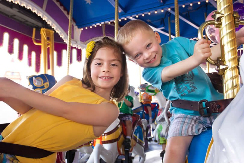 Kids on attraction ride