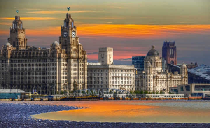 Liverpool Three Graces and waterfront