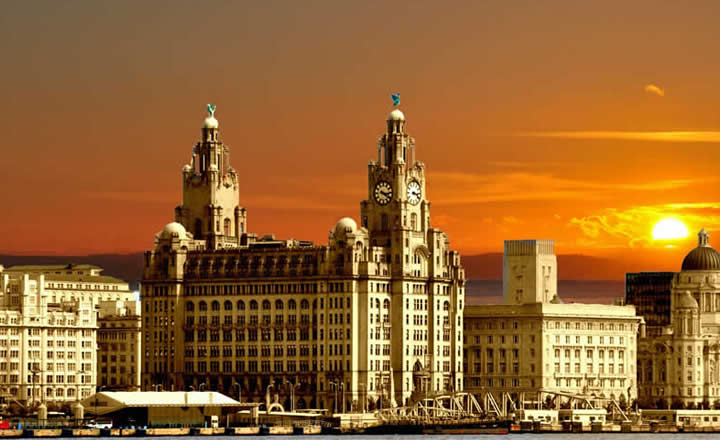 Liverpool Three Graces at sunset