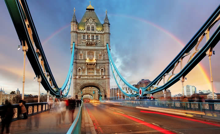 London Bridge rainbow February