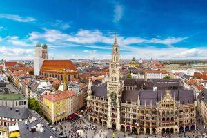 Marienplatz town hall and Frauenkirche in Munich Germany