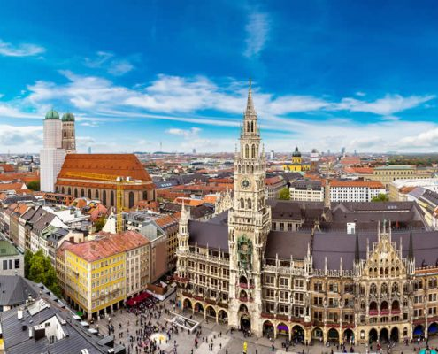 Marienplatz town hall and Frauenkirche in Munich Germany