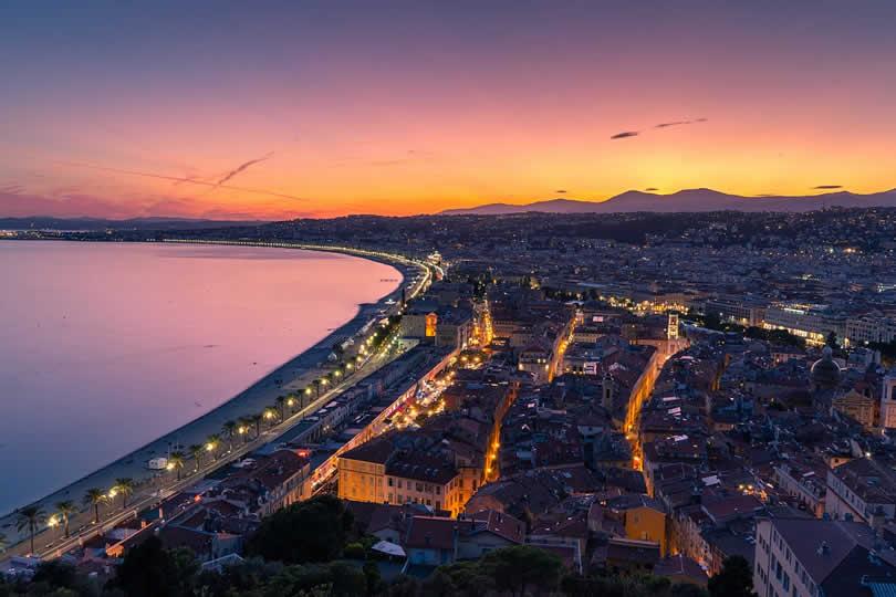 Nice France by night