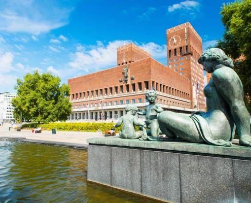 Oslo city centre statue in Norway