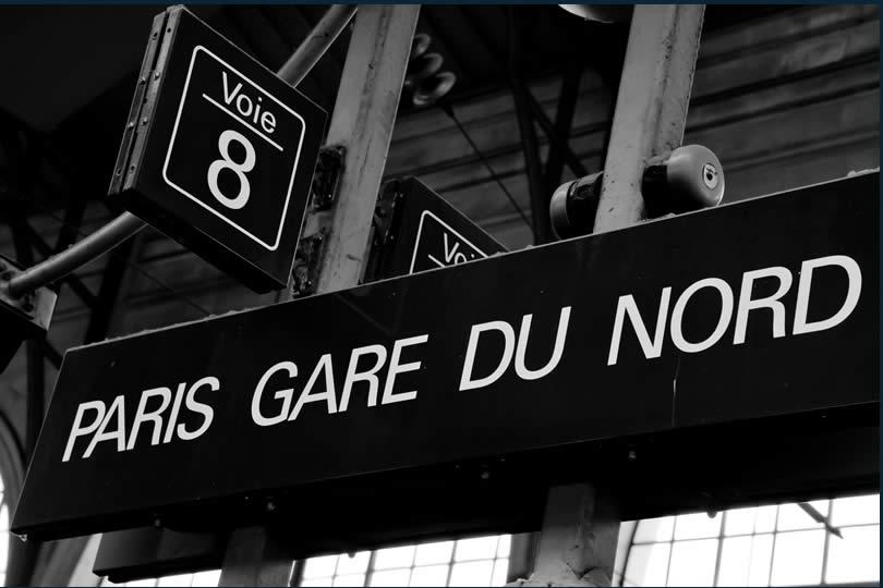 Paris Gare du Nord train station sign