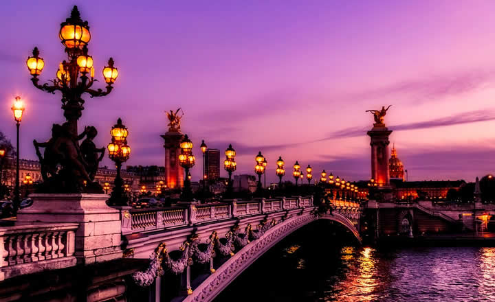 Paris Seine River Bridge in evening