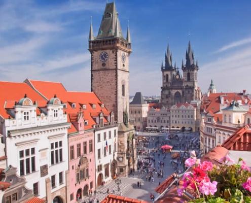 Prague city centre in Spring