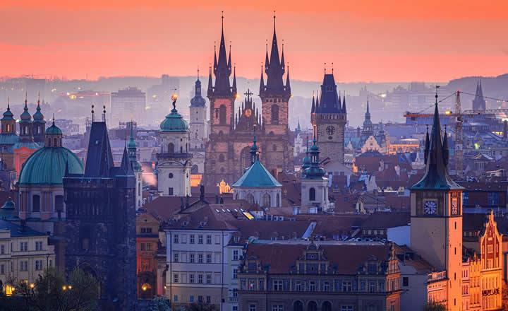 Prague February winter evening