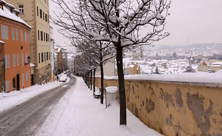 Prague snow in January