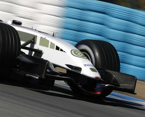white racing car formula one