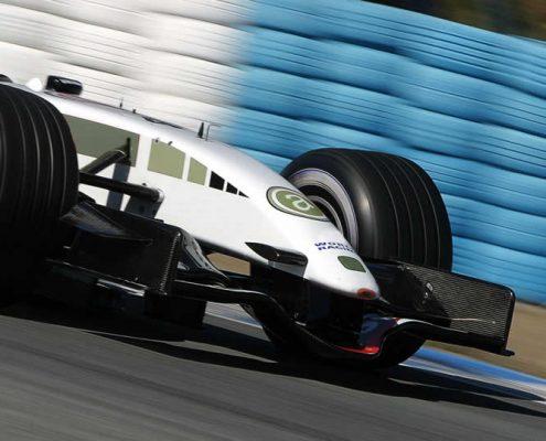 white racing car formula one