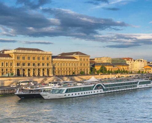 river cruise ship in European port